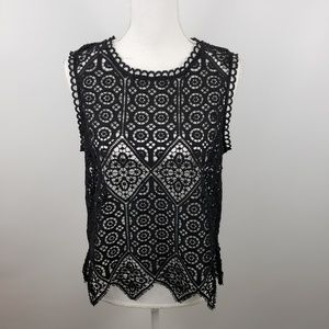 Anthropologie Small crochet knit lace top blouse